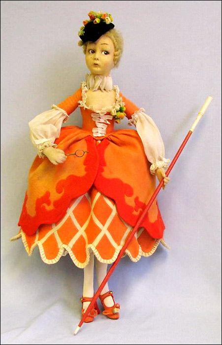Кукла Коломбина антикварная