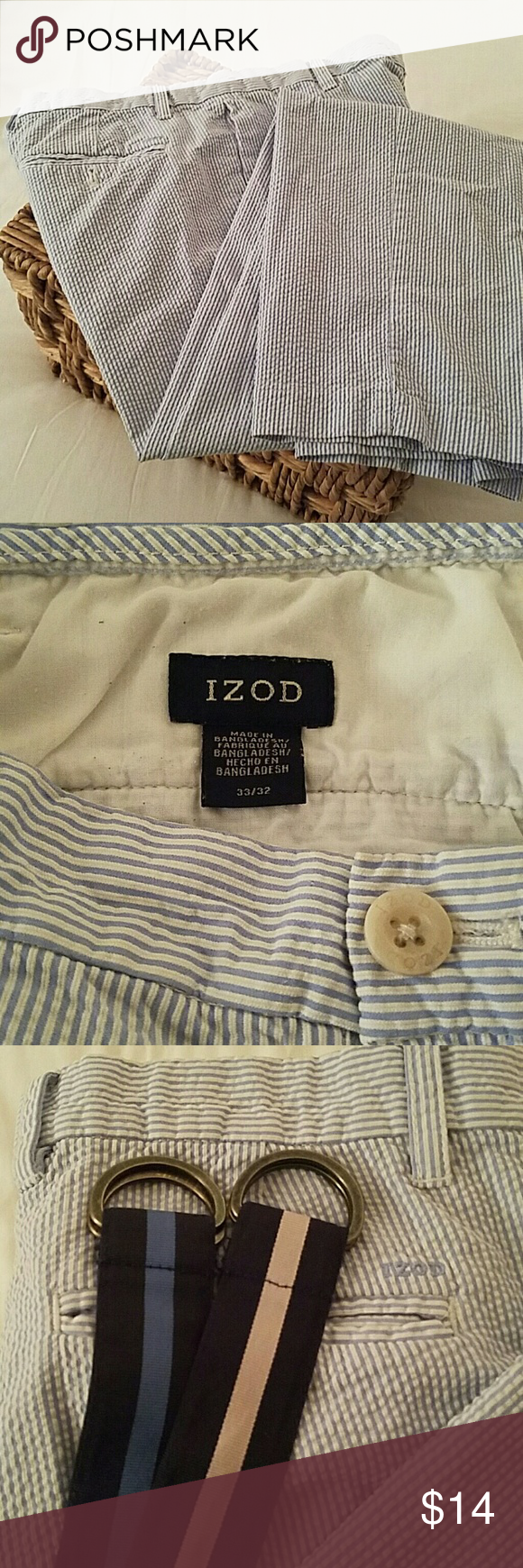 Izod seersucker slacks Sea foam blue and white, clean, bargain, smoke-free, worn 5 times, great deal, stainless, superior condition, great slacks for a day on the boat. Izod Pants