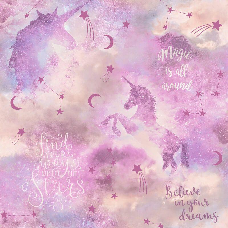 Arthouse Galaxy Unicorn Blush Multi Glitter Wallpaper 292901
