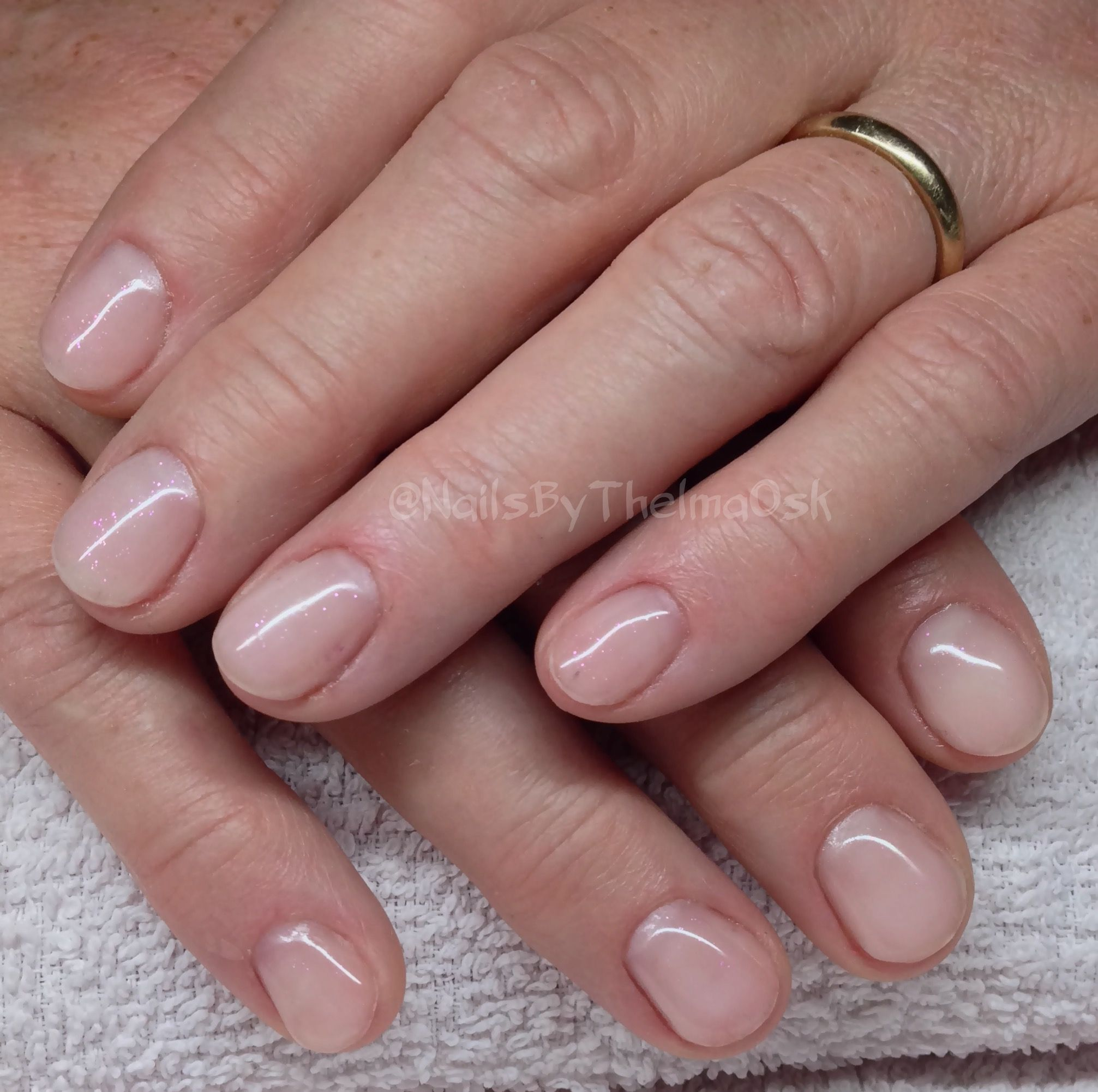 Beautiful Natural Soft Pink Gel Nails With A Hint Of Purple Shimmer Pink Gel Nails Glitter Gel Nails Gel Nails