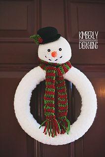 Snowman Wreath Crochet Christmas Wreath Crochet Xmas Christmas Crochet