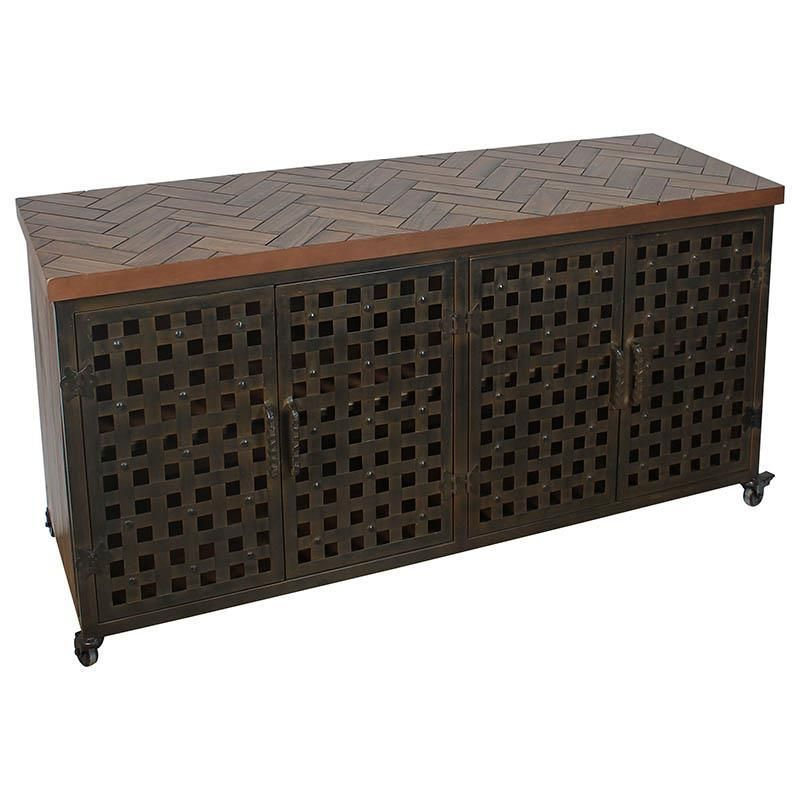 Awesome Wooden Metal Cabinet In Brown Color Www Inart Com