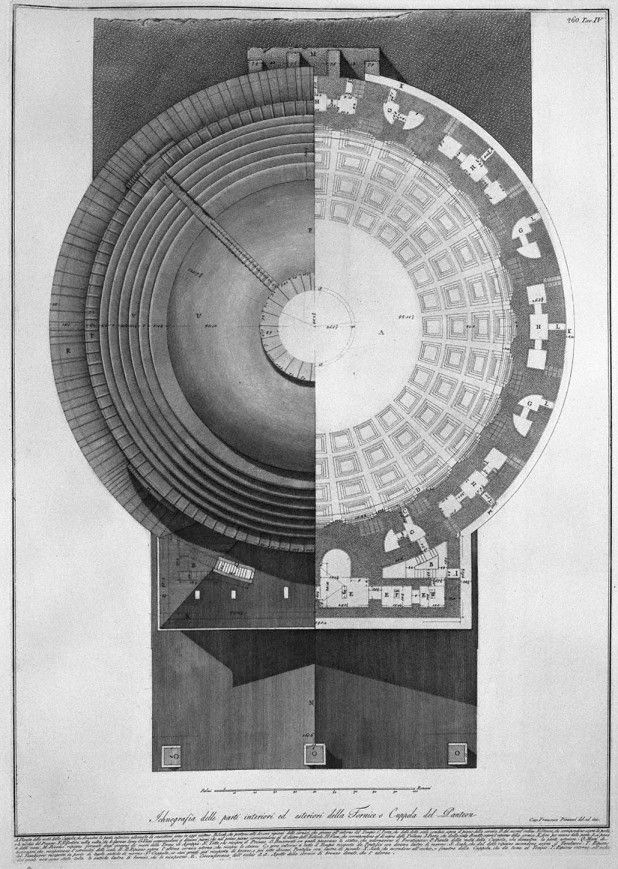 Combined Roof Plan / RCP of the Pantheon by Piranesi