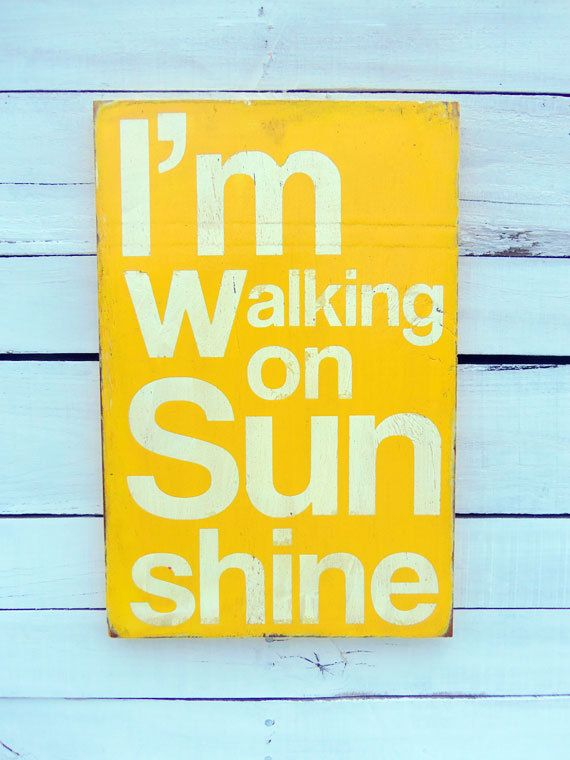 Typography Wood Sign -I\'m Walking on Sunshine Wood Sign Wall Decor ...