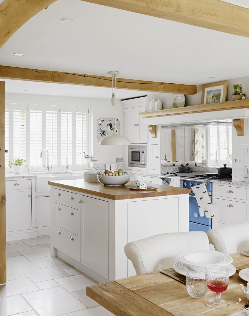White Country Kitchen with Blue Range Cooker | Kitchens & Eating ...