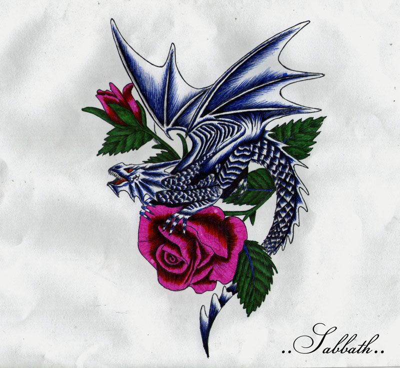 dragons and roses tattoos dragon with roses by tattoos pinterest rh pinterest com au tattoo dragon rose dragon rose tattoo designs