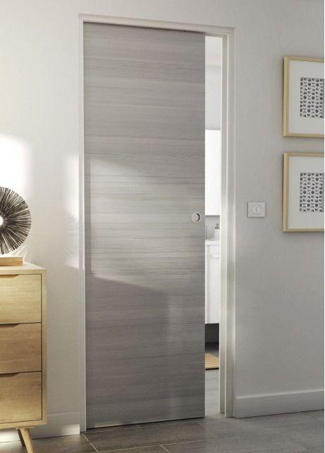 Porte coulissante geom summa gris clair 83 cm verri res - Prix d une porte coulissante scrigno ...