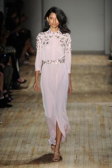 NYFW Spring 2015: Blush pink embellished shirt dress at Jenny Packham