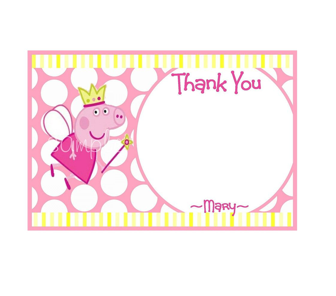 peppa pig printable thank you notes personalized birthday