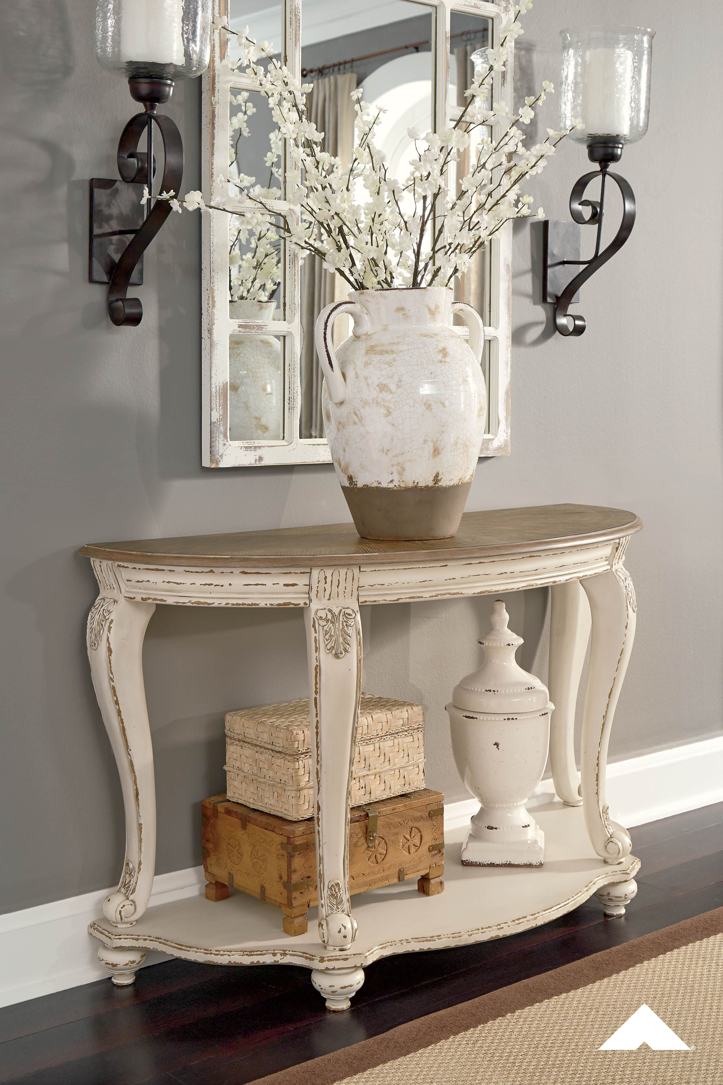 Realyn Sofa Table By Ashley Furniture Pastoral Charm Elevating The Art Of Traditional Cottage Styling The Realyn Foyer Table Decor Entry Table Decor Decor