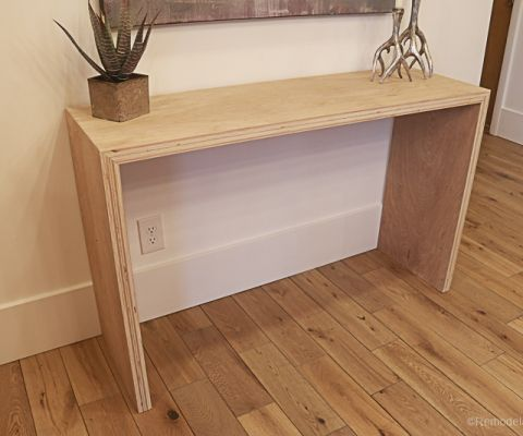 Plybood Waterfall Console Table By Remodelaholic 13 Diy Console Table Diy Waterfall Diy Console