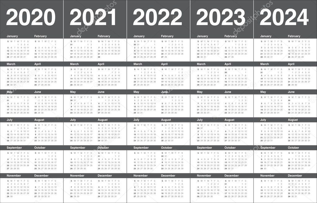 Year 2020 2021 2022 2023 2024 Calendar Vector Design Template Stock Pho Affiliate Year Template Stock Calendar Vector Design Template Vector Design