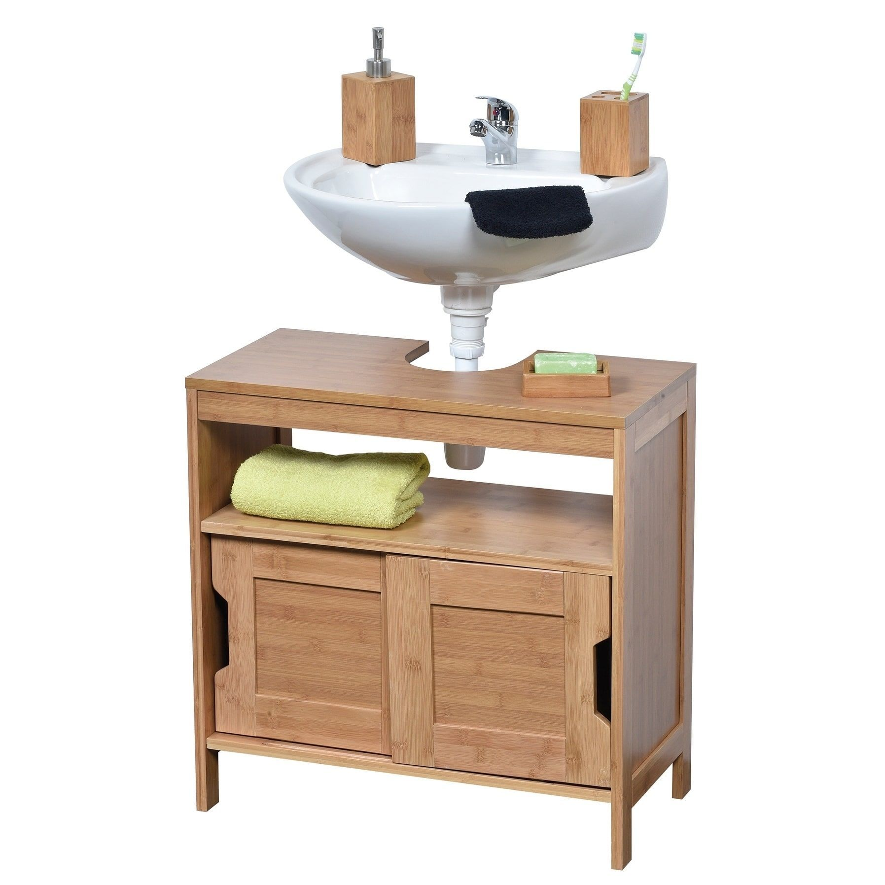 Evideco Non Pedestal Bathroom Under Sink Vanity Cabinet Mahe Bamboo