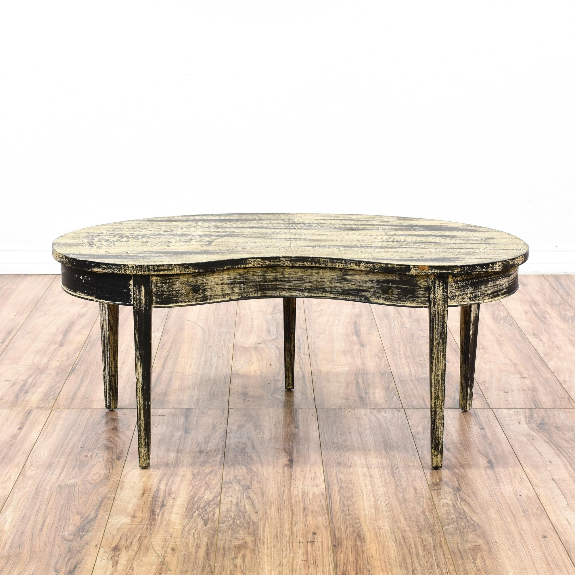Shabby Chic Kidney Shaped Coffee Table W Drawer