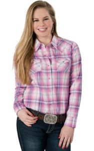 b2ae7132de787 Cumberland Outfitters Women s Pink   Blue Plaid with Rhinestones Long  Sleeve Western Shirt