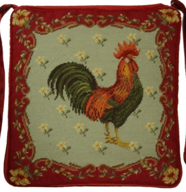 Cushioned French Country Rooster Rug: Brown Leghorn Rooster Needlepoint Chair Pad