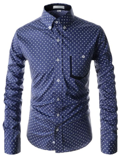 Domple Mens Business Plaid Plus Size Lapel Button Down Slim Dress Shirts Light Blue XL