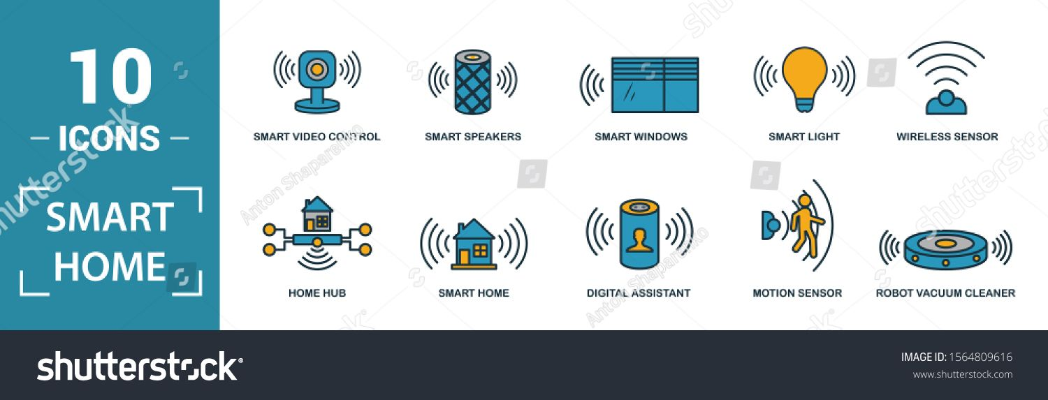 Smart Home Icon Set Include Creative Elements Digital Assistant Robot Vacuum Cleaner Smart Video Control Smart Light Home Smart Video Smart Home Home Icon
