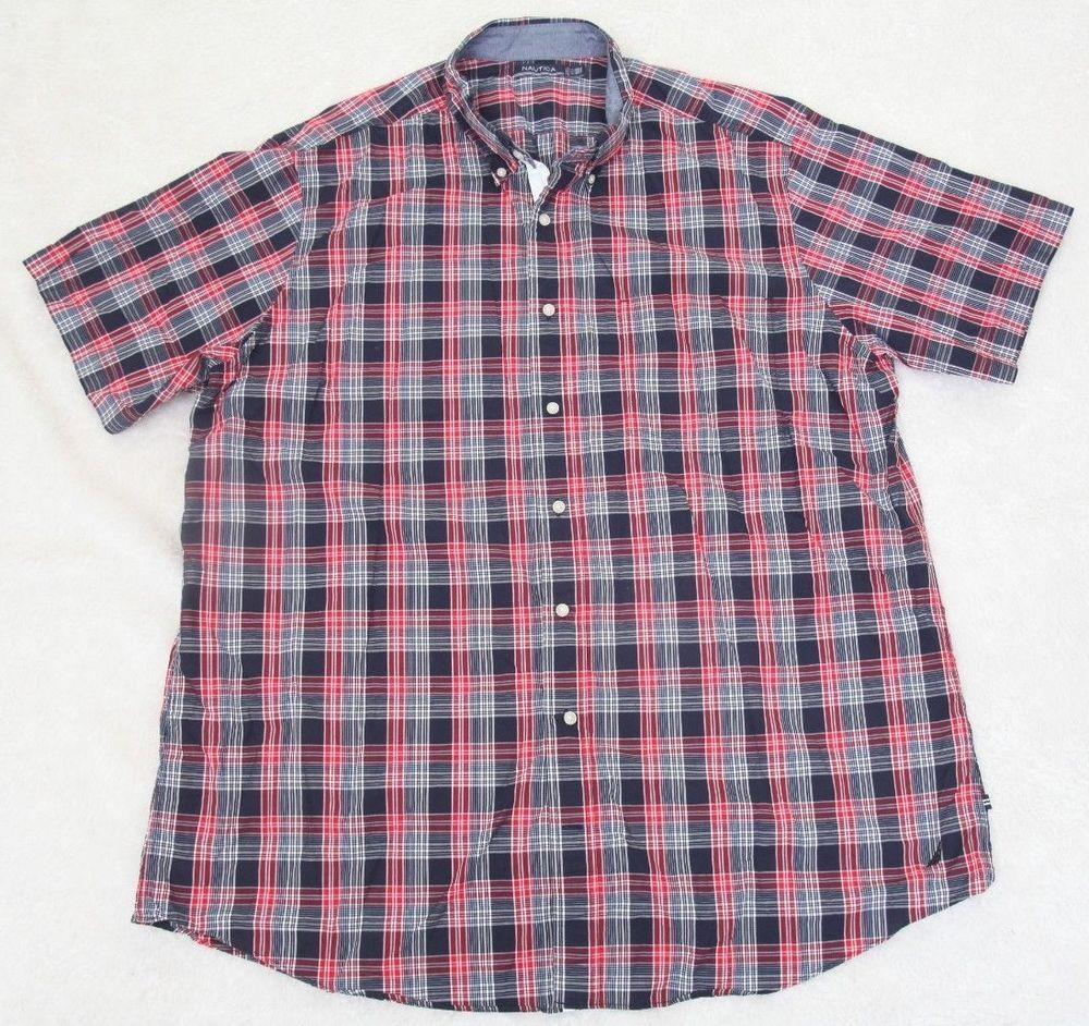 Dress Shirt Nautica 2xlt Blue White Red Mens Choice Short Sleeve Xxl