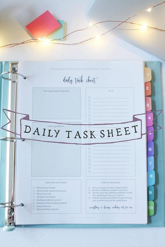 Daily Task Sheet - Morning Worksheet - Self-Care Worksheet - daily task sheet