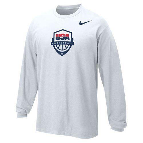 Youth Team Usa Nike Basketball Core Long Sleeves T Shirt White Nba