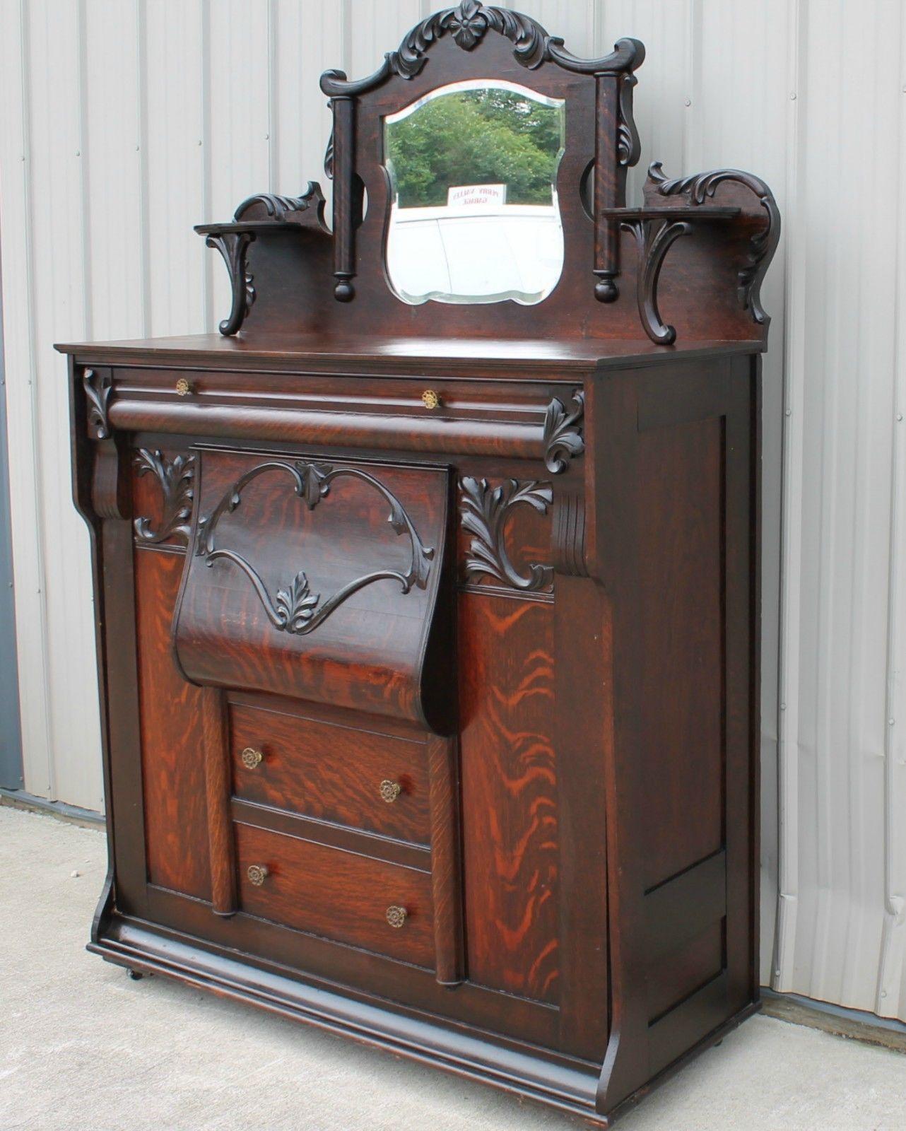 1900 1910 Rare Oak Larkin Furniture Antique Murphy Bed Old