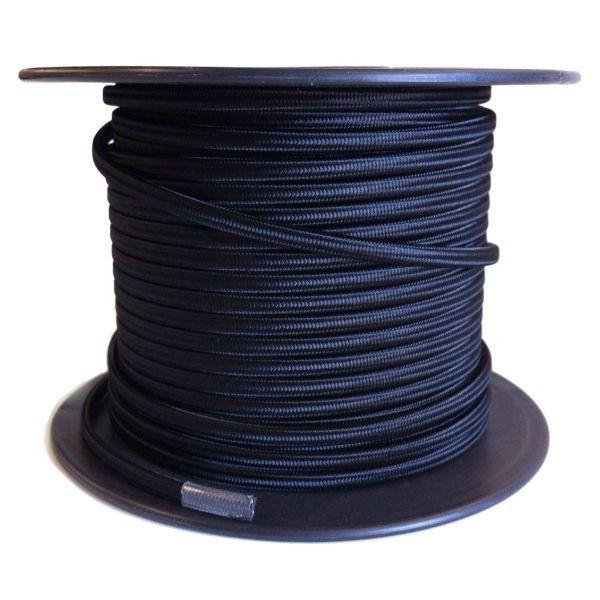 Black Cloth Covered Parallel Flat Cord 100 Foot Spool Spool Lamp Cord Black