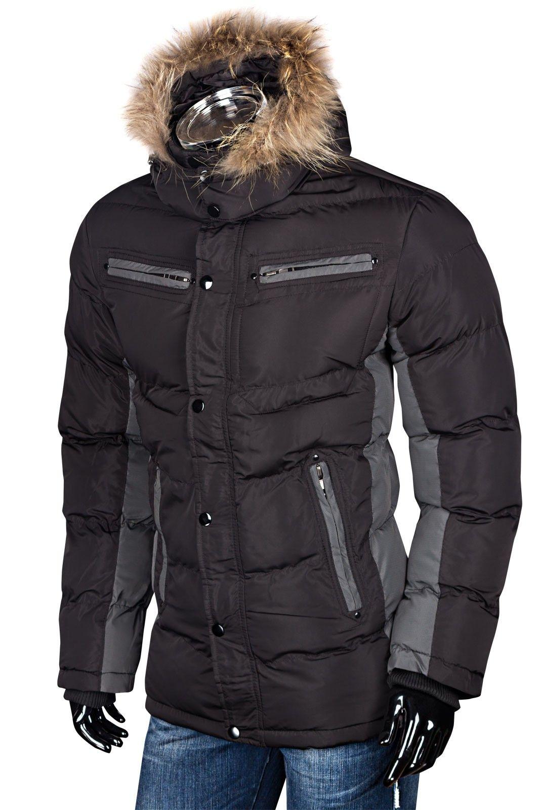 Herren Winterjacke Steppjacke Mit Fellkapuze Daunen Look | Jacken | Herren Mode | DeineFashion