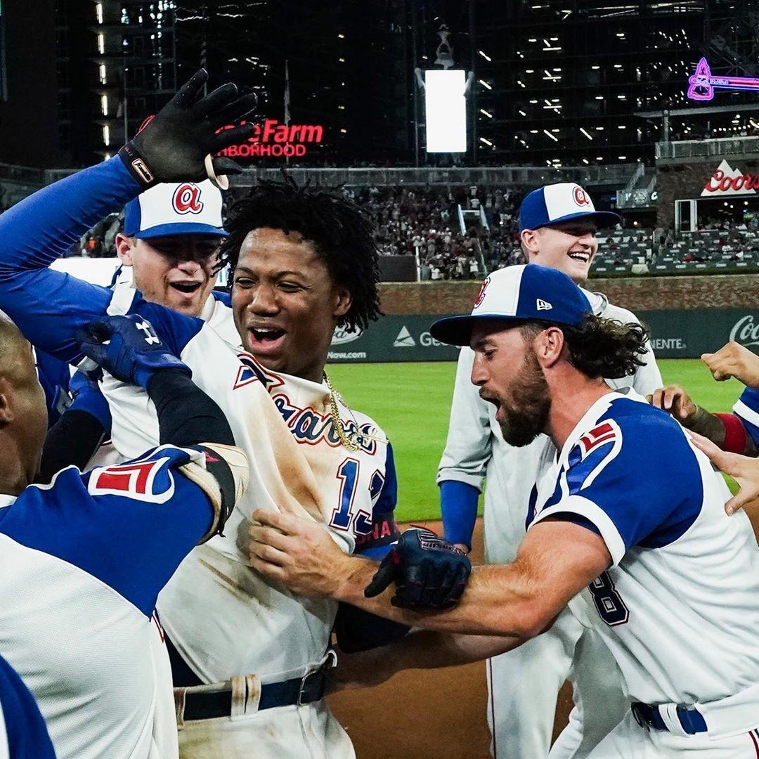 Atlanta Braves No One Loves A Walk Off Celebration More Than Ronaldacuna13 Atlanta Braves Atlanta Braves Baseball Braves