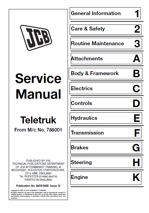 Jcb 2 0 2 5 3 0 3 5d Tlt Lift Teletruk Service Manual Repair Manuals Backhoe Loader Manual