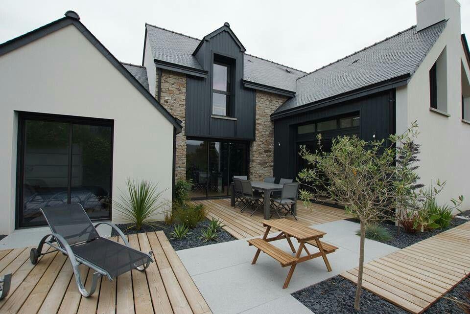 Moderne extension | Maison extérieure, Terasse maison, Aménagement entree maison