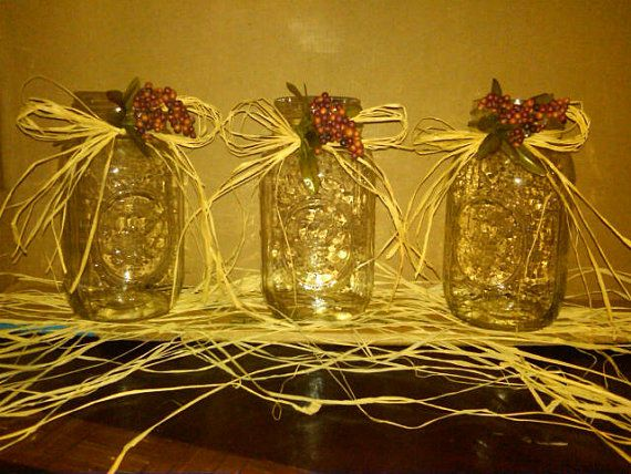 3 Tall Mason Jars with Beautiful Country Rustic by CountryBarnBabe, $12.00