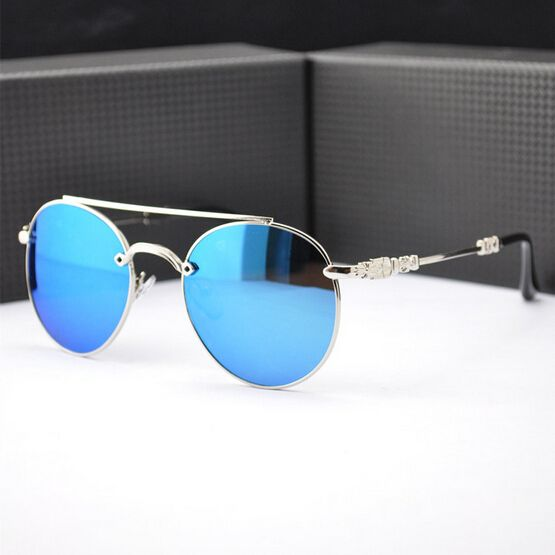 shades for men ahfk  2015 NEW brand Retro ROUND sunglasses frames driving BLUE SILVER reflective  Sun lenses spectacles shades Men
