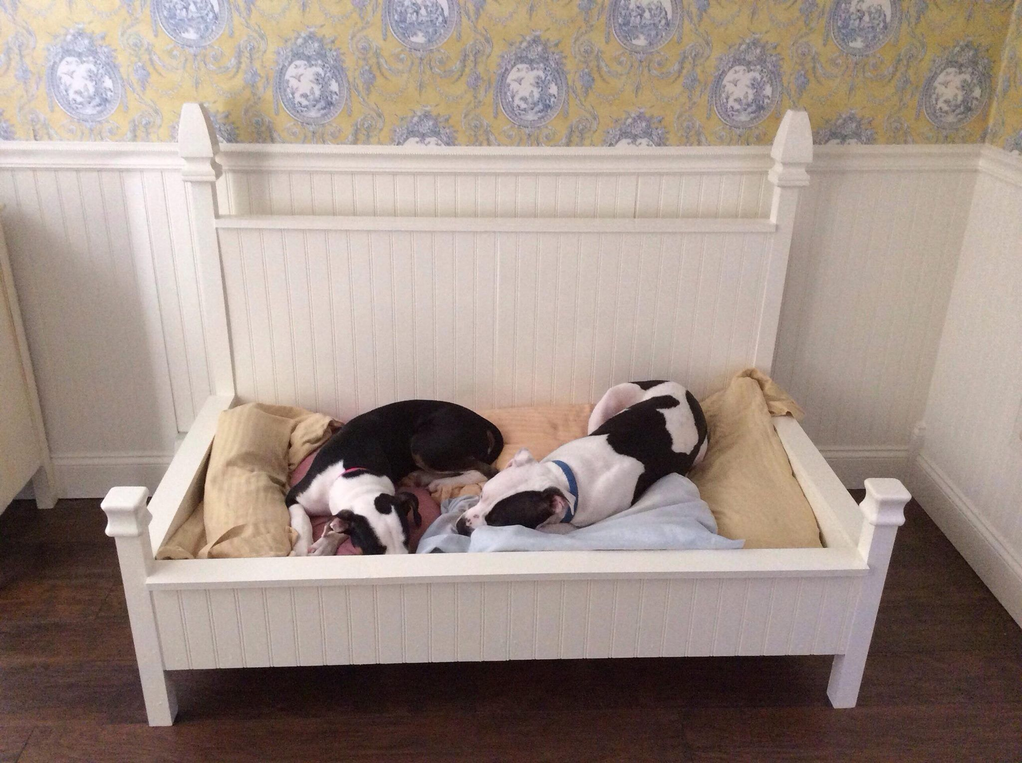 Four poster dog bed - built to hold a baby crib mattress ...