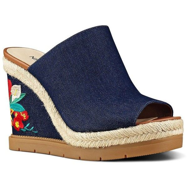f7bb7a94abc Nine West VIP Denim Wedge Sandals ( 119) ❤ liked on Polyvore featuring shoes