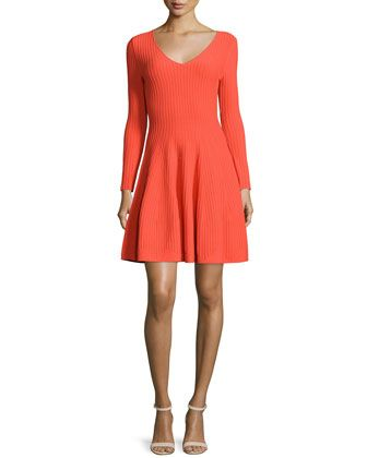 Milly Long Sleeve Fit Flare Ribbed Dress Fit Flare Dress Ribbed Dresses Red Long Sleeve Dress
