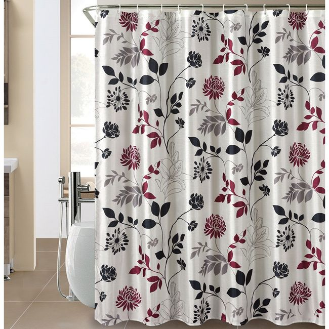maroon shower curtain set. The Wild Bloom shower curtain  featuring a floral silhouette in shades of black silver and maroon on white background will add modern touch to your