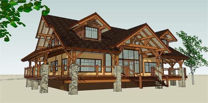 Timber frame house plans with basement house plan hybrid for Small timber frame house designs