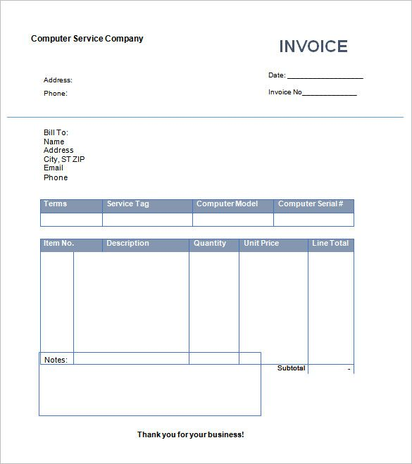 Sample Computer Service Company Invoice Template , Invoice - bill format in word