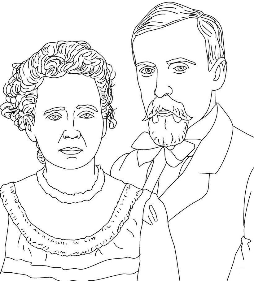 Pierre Et Marie Curie Coloriage Gratuit Coloriage Marie Curie