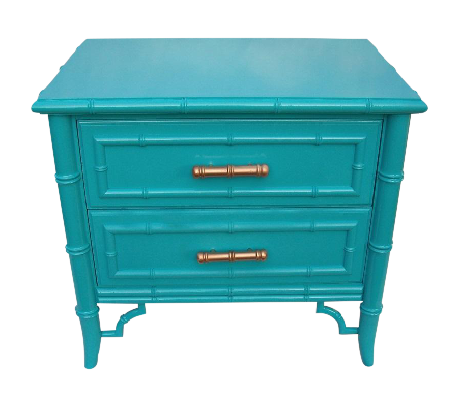 Mid Century, 1960s. Gorgeous Chippendale Faux Bamboo Design And Lots Of It.  Newly Lacquered In A Bold Turquoise Blue, Made By Dixie, The Aloha Line.