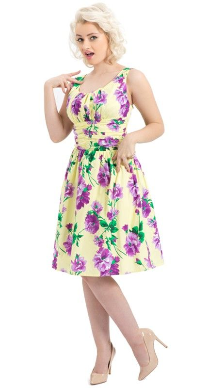 Voodoo Vixen Spring Flowers Dress In Yellow Blame Betty