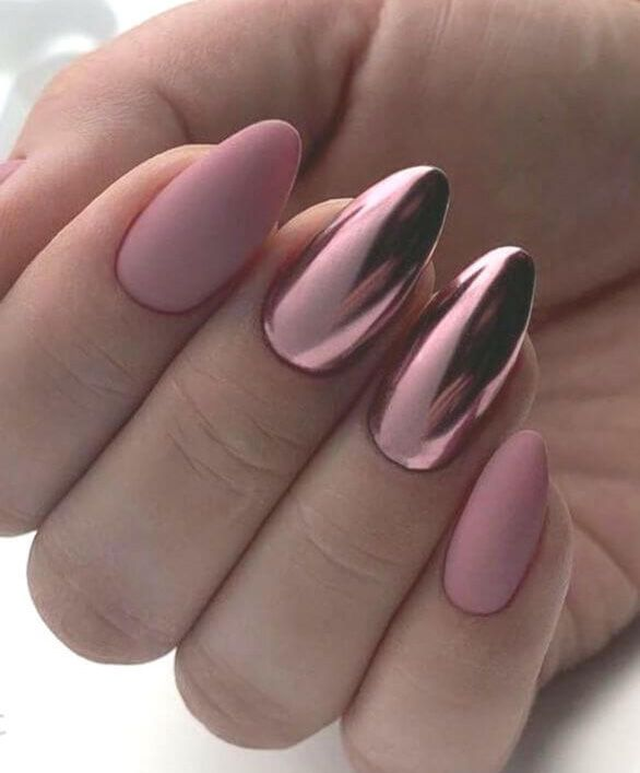 Uñas Efecto Espejo Rosa Con Mate Mirrornails Chromenails