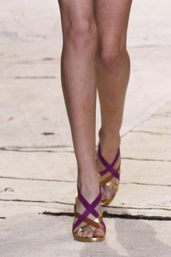 Gold and fuchsia strappy sandals at Diane Von Furstenberg spring '16 runway show.
