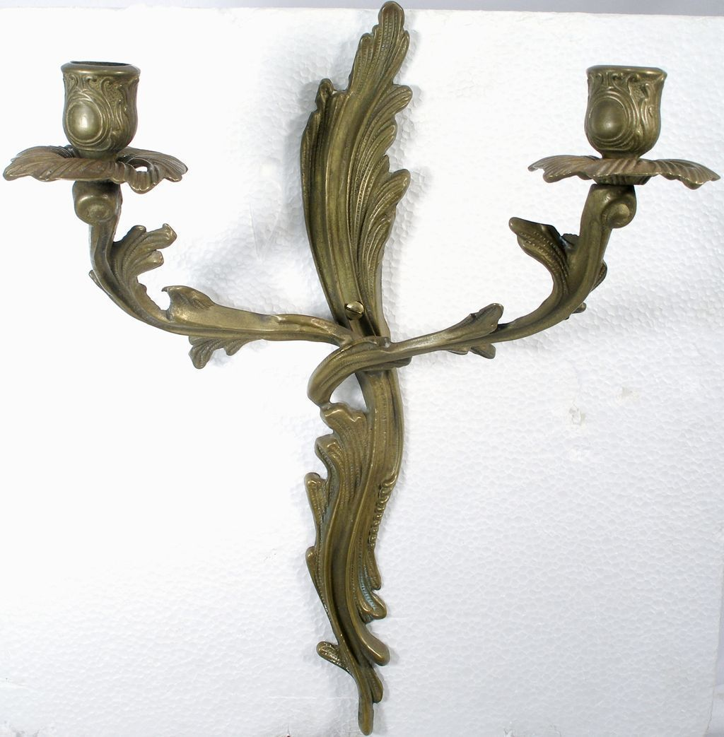 Antique Wall Sconce Brass Candlestick Candelabra Candle ...