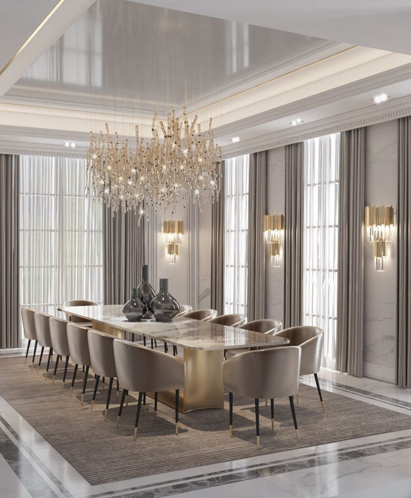 Photo of DINING ROOM IN A MODERN CLASSIC STYLE WITH A UNIQUE REFINEMENT