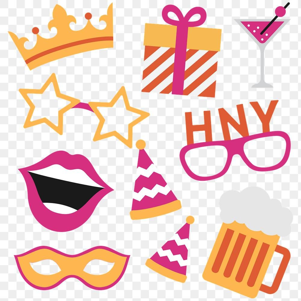 New Year Party Stickers Collection Transparent Png Free Image By Rawpixel Com Chayanit Photo Booth Party Props Sticker Collection New Years Party