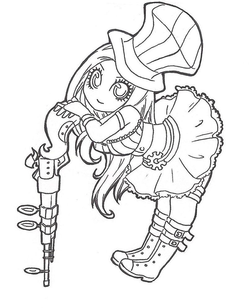Caitlyn Chibi [lineart] by SpigaRose | Coloring pages | Pinterest