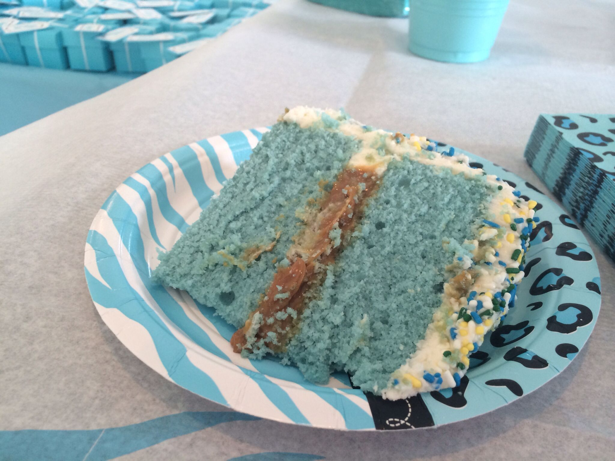Sprinkle cake: blue dyed moist vanilla with dulce de leche filling