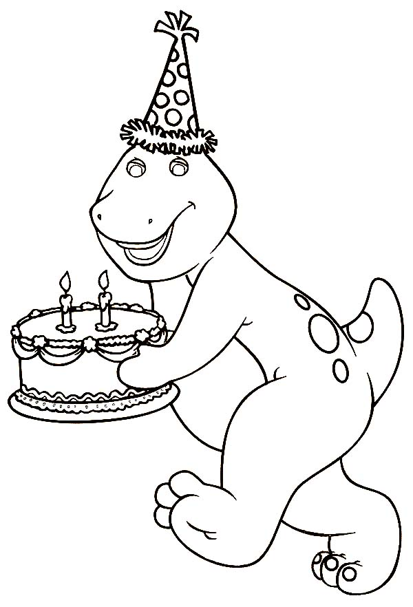 Barney Birthday Cake Coloring Pages Best Place To Color Barney Birthday Barney Birthday Party Coloring Pages
